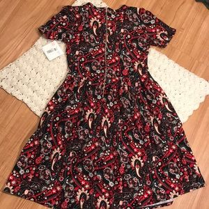 LuLaRoe Dresses - LulaRoe red black grey paisley Amelia Dress NWT
